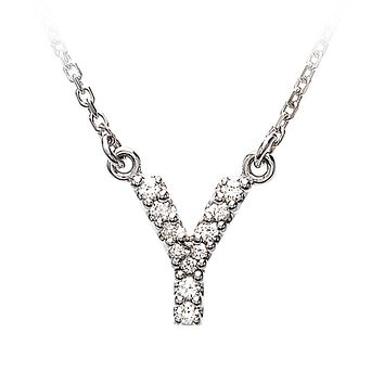 1/10 Cttw G-H, I1 Diamond initial Necklace in 14k White Gold, Letter Y