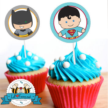 "INSTANT DOWNLOAD - EDITABLE 12x Superhero Birthday Party 2"" Cupcake Toppers - Super hero - Heroes favor tag, party supply, Printable pdf"
