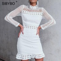 Sibybo Hollow Out Ruffles Lace Dress Women Long Sleeve Turtleneck Lace Crochet Sexy Bodycon Dress Summer White Party Dress Woman