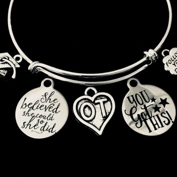 She Believed Occupational Therapist Graduation Expandable Charm Bracelet Silver OT Adjustable Bangle Graduation Gift