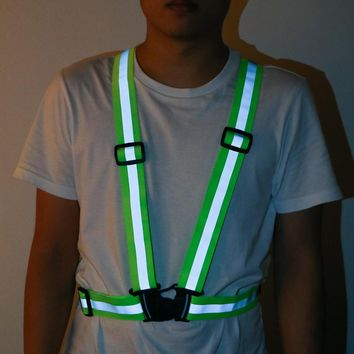 Reflective Belt Safety Vest High Visibility Neon Safety Vest 360 Degrees Fit for Running Cycling Sports Outdoor Clothes