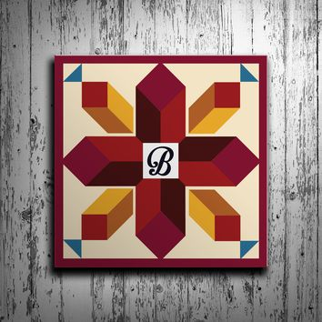 Cross Barn Quilt with Initial Monogram