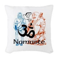 Namaste Jesus and Buddha Woven Throw Pillow> LovelyDesigns4U2