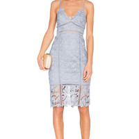 Bardot Botanica Lace Dress in Dusty Blue