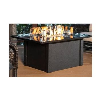 Outdoor Great Room Grandstone Crystal Fire Pit Table with Napa Valley Black Base and Absolute Black Granite Top Qty of 1