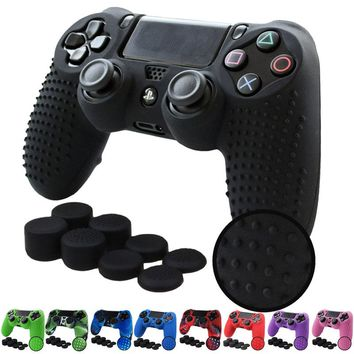 PS4 /PS4 SLIM /PS4 PRO Controller STUDDED Anti-slip Silicone Cover Case and 8x Thumb Grips caps for Playstation 4 Dualshock 4