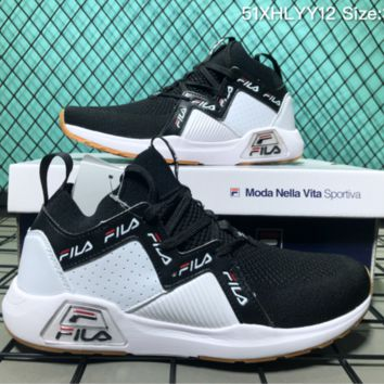 AUGUAU F047 Fila 2018SS New Flyknit Sports Casual Running Shoes Black White
