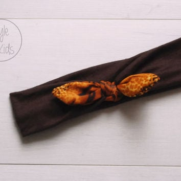Dark BROWN Top Knot Headband with Tiger Print Bow Headband Knot Toddler Headband Head Wrap Baby Bow Headband Newborn Knot Headband