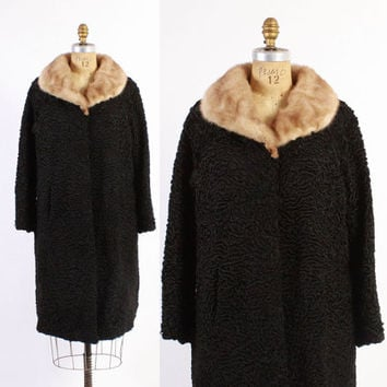 Vintage 50s FUR COAT / 1950s Lilly Dache Black Persian Lamb & Mink Winter Coat M - L