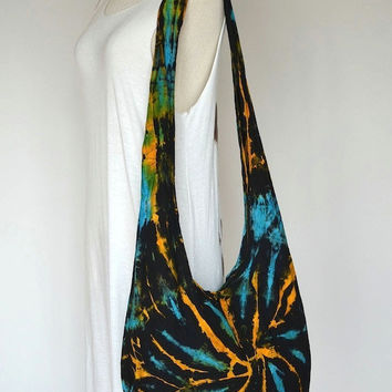 Hippie Tie Dye Hobo Bag Sling Shoulder Crossbody Purse Boho Batik Design HTD375