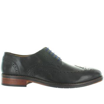 VONES2C Florsheim Salerno Wing Ox - Black Leather Perforated Wing Tip Oxford
