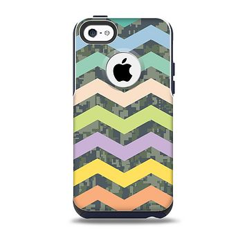 The Vibrant Colored Chevron With Digital Camo Background Skin for the iPhone 5c OtterBox Commuter Case