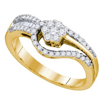 10kt Yellow Gold Womens Round Diamond Flower Cluster Bridal Wedding Engagement Ring 1/2 Cttw