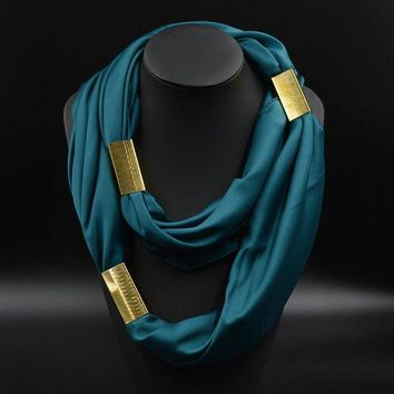 PEAPU3S Silk Necklace Long Scarf Necklace Solid Colors Gold-plated Decorative Soft Scarves Accessories Trendy Women 2015 New Arrival