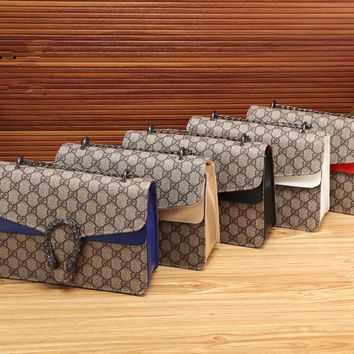 """Gucci"" Women Fashion Classic Retro Print Multicolor Metal Chain Single Shoulder Messenger Bag Small Square Bag"
