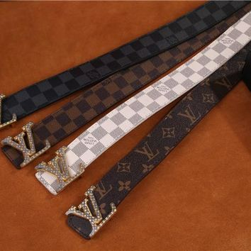 """LOUIS VUITTON"" Unisex Fashion Classic Multicolor  Needle Buckle Belt"