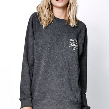 Obey Mural Services Classic Crew Neck Sweatshirt - Womens Hoodie - Heather Char