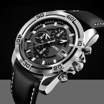 Men's Fashion Accessory Military Watch Multifunction Chronograph Leather Strap Waterproof Outdoor Watch Trend Luxury Classy Watc