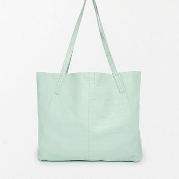 Embossed Leather Floppy Shopper Bag