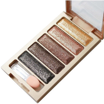 2016 new brand 5 Color Glitter Eyeshadow Makeup Eye Shadow Palette,Super Flash Diamond Eyeshadow High Quality With Brush