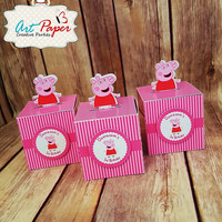 Peppa Pig Pop Up Theme Favor Box(Qty 10) - Frozen, my little pony, despicable me, & any themes, for birthday, wedding, baby shower and more.