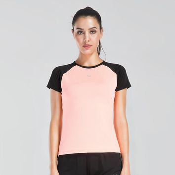 Running T-Shirt Women Reflective Logo Night Run Athletic Shirt Quick Dry Fit Yoga Shirts Workout Tops Female Sportswear