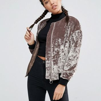 ASOS Velvet Bomber Jacket at asos.com