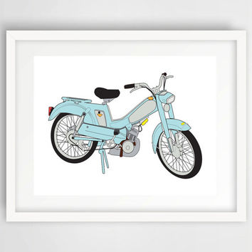 Vintage Bike Scooter Print, Wall Print, Color, Digital, Download, Printable, Modern Art