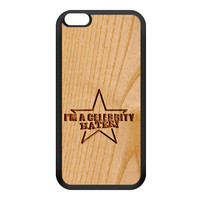 Carved on Wood Effect_Celebrity Hater Black Silicon Rubber Case for iPhone 6 Plus by Chargrilled