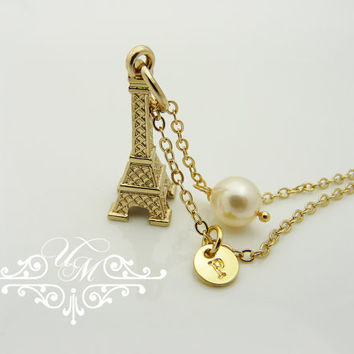A Little Jewelry Eiffel Tower Necklace Gold Necklace Single swarovski Pearl Personalized Initial bridesmaids Gift Best friend Birthday Gift