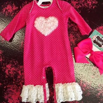 Peaches & Cream Valentines Hot Pink & White Heart Romper