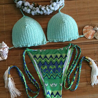 Mint Green Knit Tie Bikini