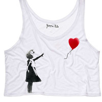 Girl-with-a-Balloon Crop Tank Top