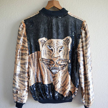 Gold and Black Sequin Tiger Jacket, 80's Tiger Gold Sequin Track Jacket, Michael Jackson Costume Jacket, Small Gold Sequin Jacket