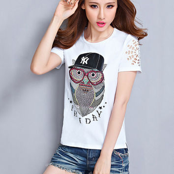 Owl Print Short Sleeve Graphic Tee