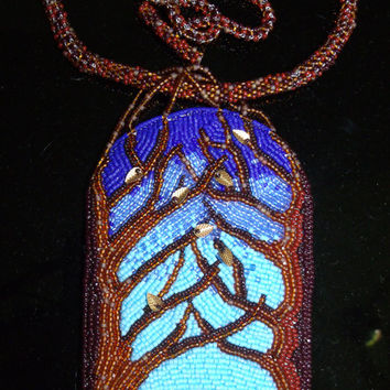 Baucis and Philemon bead embroidered pendant