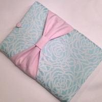 """Macbook Pro 13 Sleeve MAC Macbook 13"""" inch Laptop Computer Case Cover Aqua Rosettes with Light Pink Bow"""