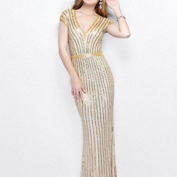 Primavera Couture - V-Neck Sequined Evening Gown 1709