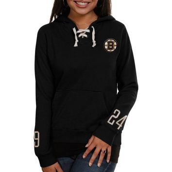 Old Time Hockey Boston Bruins Ladies Queensboro Lace-Up Pullover Hoodie Sweatshirt - Black