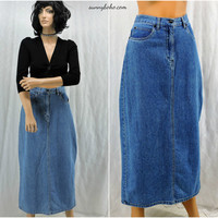 Denim maxi skirt M size 8 / 9 Bill Blass 90s high waisted long jean skirt boho hippie grunge long denim skirt SunnyBohovintage