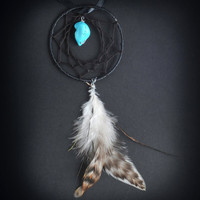 Single Feather Car Dash Dream Catcher (Black)