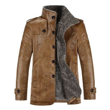 Men's Modern Leather Windproof Fitted Jacket with Faux Fur interior