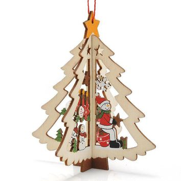 2017  New Year Merry Christmas Lovely Cartoon Wooden Tree Decorations Christmas Gifts Ornaments XMAS Table Desk Decor for home