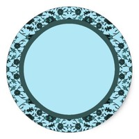 Vintage Floral in Pale Blue and Dark Teal Classic Round Sticker