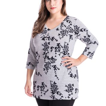Chicwe Women's Plus Size Butterfly Printed Tunic Top Cashmere Touch V-Neck US14-26