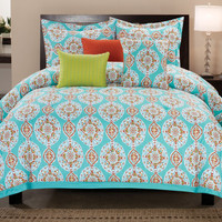 "Michelle King Size Six Piece Cotton Comforter Set (106"" x 92"")"