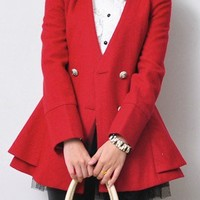 Red Long Sleeve Double Breasted Ruffles Coat - Sheinside.com