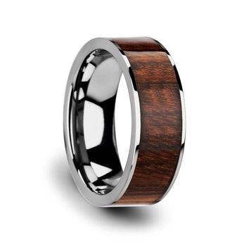 Men's Flat Tungsten Carbide Ring With Real Carpathian Wood Inlay 8mm