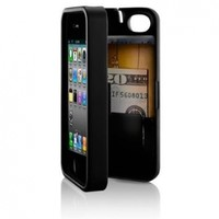 Black, Case for iPhone 5 with built-in storage space for credit cards/ID/money, by EYN (Everything You Need)