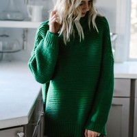 The Goddess Turtleneck Sweater (Kelly Green)